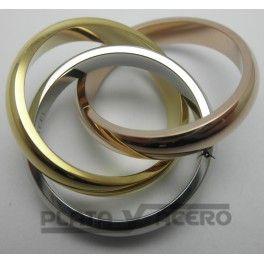 Sortija Acero 3 Anillos Entrelazados Tricolor http://platayacero.es/es/acero/269-sortija-acero-3-anillos-entrelazados-tricolor.html