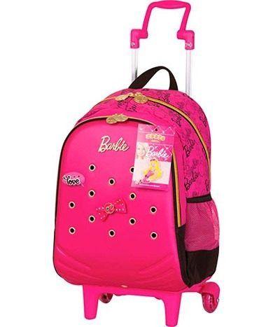 mochila escolar barbie - com rodinhas zoops