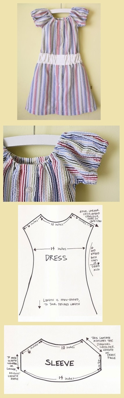 Papa's blouse, kleine meisjes jurk