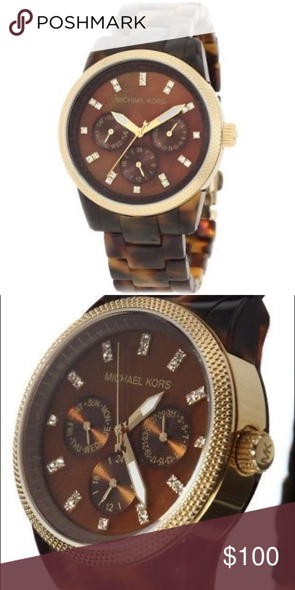 Michael Kors Tortoise Shell Watch Michael Kors stainless steel watch with crystal and gold accents Michael Kors Accessories Watches