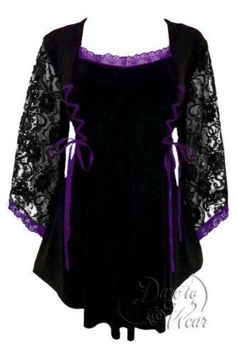 Gothic-ANASTASIA-Stretch-Corset-Style-Top-PURPLE-amp-BLACK-Size-10-12-to-26-28