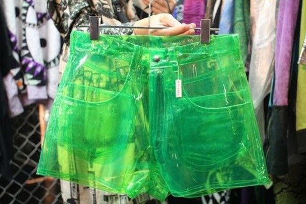 Get these shorts on @Wheretoget or see more #neon #shorts #neon_green #clear #transparent #green #tumblr #love #tumblr_shorts #wolf-raw-r