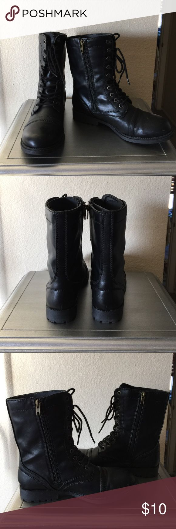 Faded Glory women's military style boots Faded Glory women's black military style boots. Size 8-1/2. Wore once for holiday themed party, & indoors only. Zips up the side & also ties in the front. Faded Glory Shoes Combat & Moto Boots