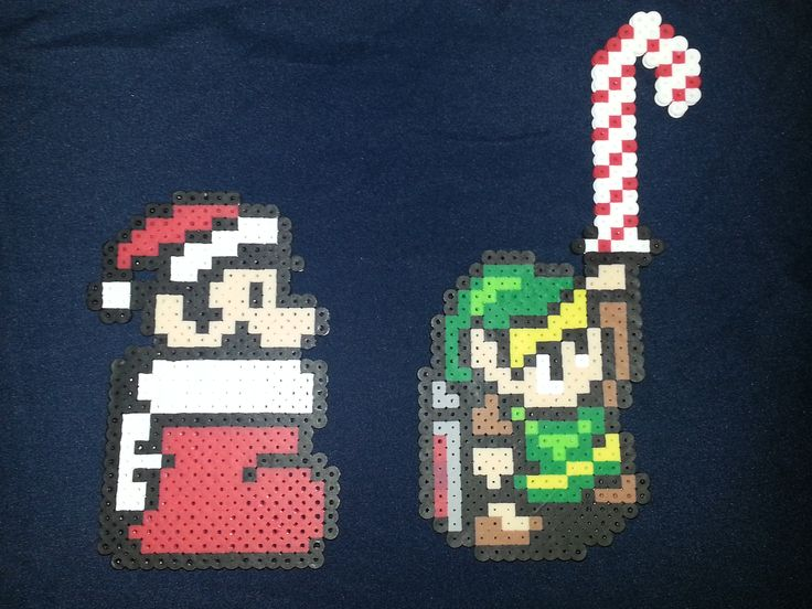 Christmas Link and Mario ornaments perler beads by PerlerQueen https://www.etsy.com/shop/jinglebells0424
