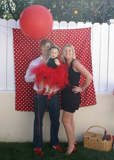 cute for a lady bug party. The tutu turned out super cute. I cut out black polka dots out of felt and stitched them on.