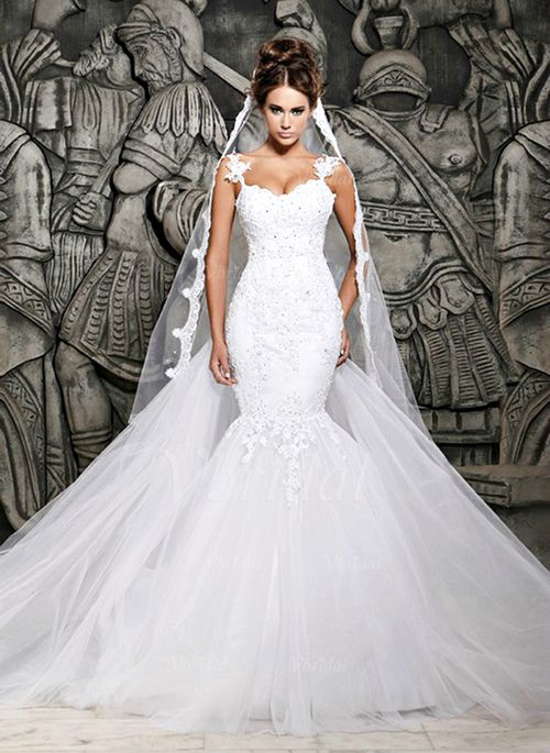 Wedding Dresses - $165.00 - Trumpet/Mermaid Sweetheart Watteau Train Tulle Lace Wedding Dress With Appliques Lace (0025060280)