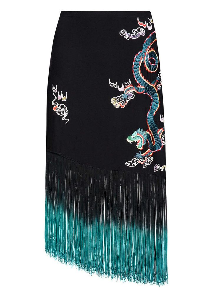Shop the RIXO London Freya Dragon Embroidery Fringe Skirt - Black online at The Dressing Room. Get 10% OFF your first order + FREE UK delivery!