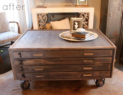 Drafters drawers turned coffee table reminds me of for Diy coffee table with drawers