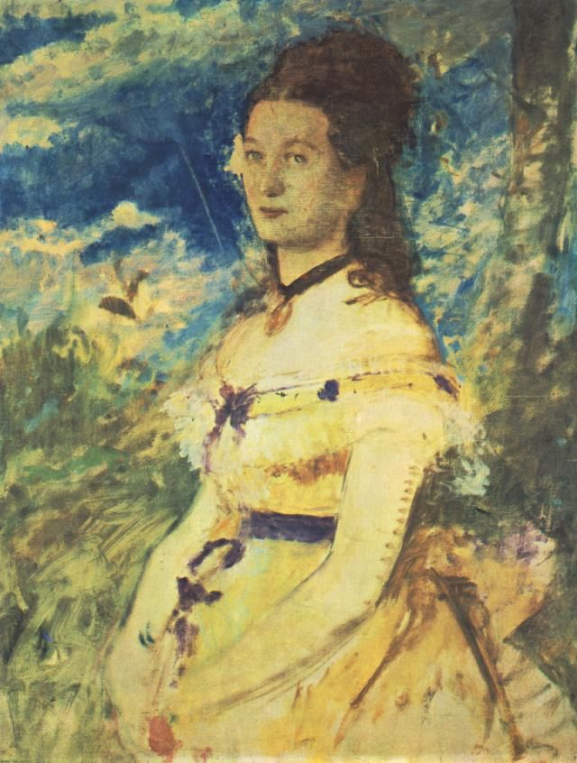 The Artists Wife Dressed in Yellow by Pál Szinyei Merse