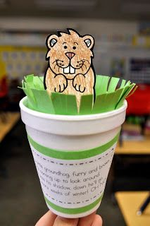 Mrs. Ricca's Kindergarten: Groundhog Day!We had fun celebrating Groundhog Day today! We made these cute pop-up groundhog puppets. Click here for the Groundhog Template and here for the Song. The kids needed some help putting these together, but they loved them and had so much fun singing and popping their groundhogs in and out!