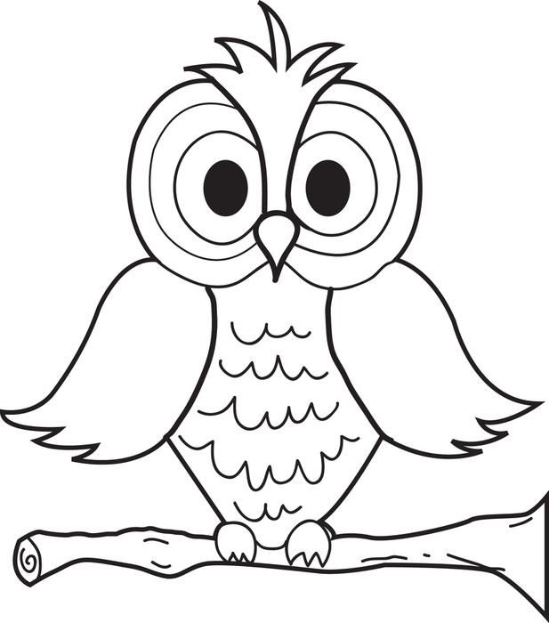 cartoon owl coloring page - 4 Year Old Coloring Pages