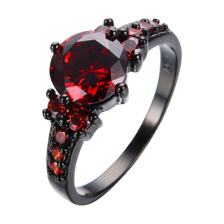 New Vintage Red Garnet Black Gold filled Red Ring Women Wedding Jewelry Anel Aneis Engagement Promise Rings BIjoux Femme RB0005