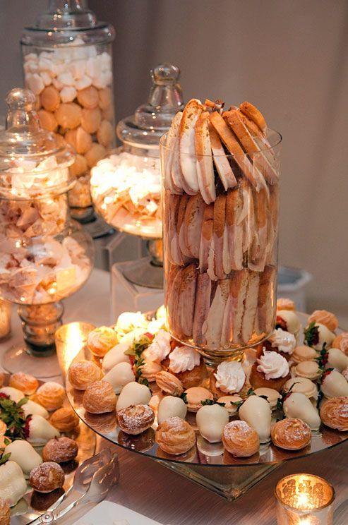 We could get some macaroons and Costco cream puffs and some chocolate covered pretzels for the snacks table!