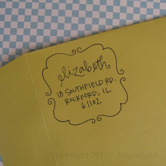 $43 Address Stamp from LetterGirl on Etsy. I love this little square stamp even more!!