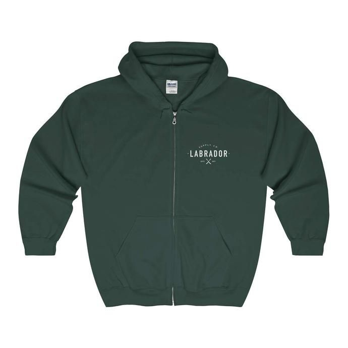 Labrador Supply Co. | Basic Zip-up Hoodie shown in Forest Green. Available in several colours and sizes.
