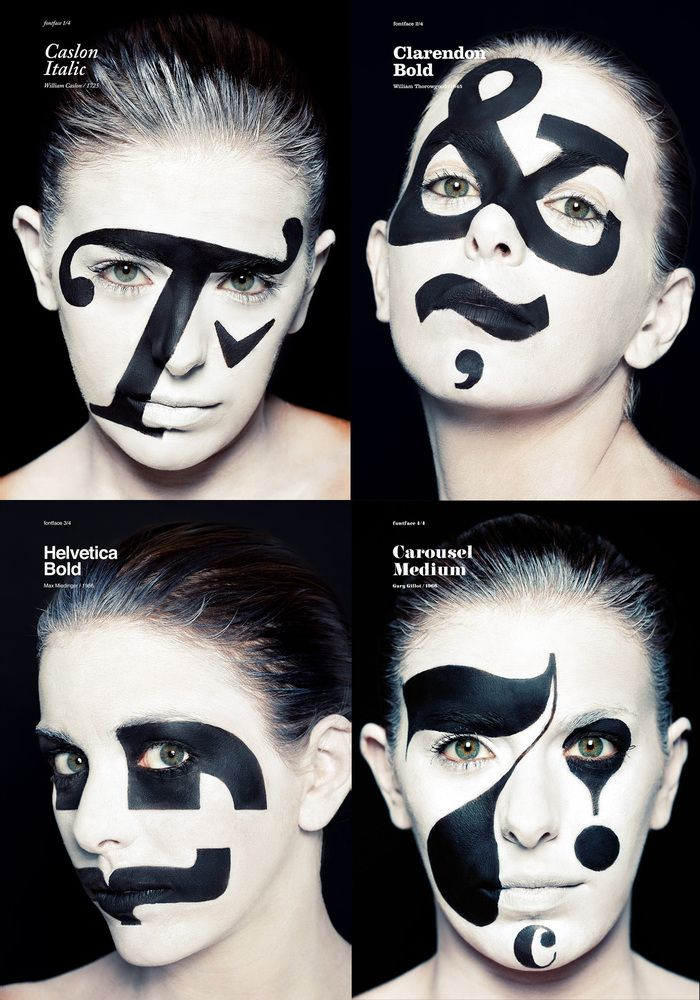 A make-up that joins the expression of gesture and text to create a collection of posters in honour of four outstanding types designers.