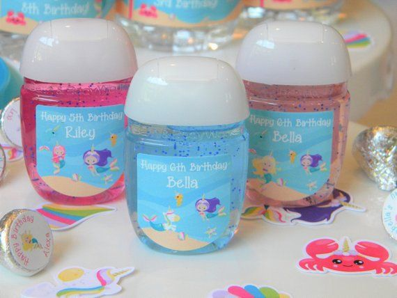 Personalized Mermaid Unicorn Hand Sanitizer Party Favors Labels