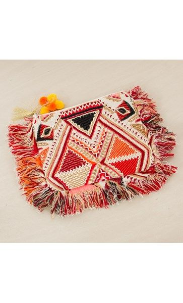 Navaho Front Pom Pom Zip Top Clutch