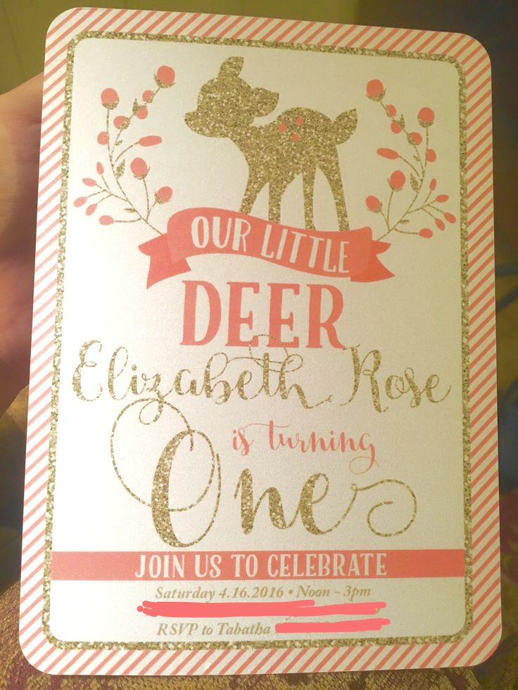 First Birthday Party Invitation Baby Girl Deer Theme