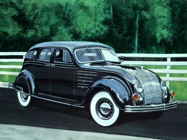 1934 Chrysler AirFlow 4-Door Black...reminds me of batman for some reason....lol