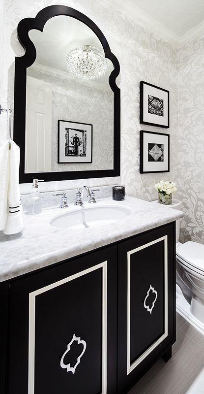 My Marker Girl Makeover   Black And White Powder Bathroom Paris Inspired By  Karen Davis Interior