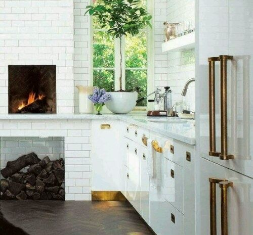 Small Fireplace For The Kitchen Adds Coziness. Even Easier