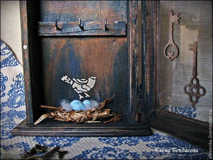 """Купить Ключница """"Родовое гнездо"""" - коричневый, синий цвет, ключница, ключница ручной работы"""