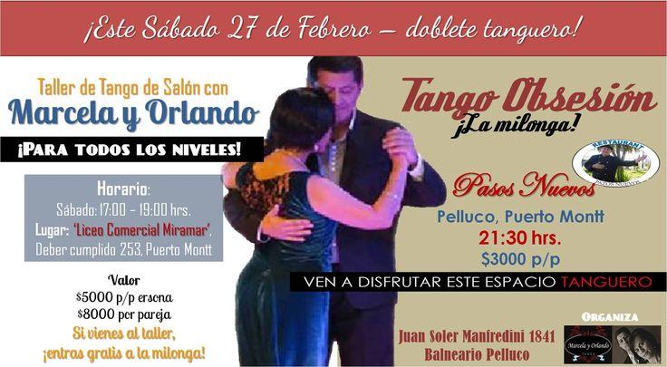 "Afiche promocional del ""Doblete Tanguero"" de Milonga Tango Obsesión en Febrero 2016."