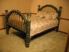 Yep, that's a four poster bed made entirely with PVC pipe and MDO plywood for the bedboards.