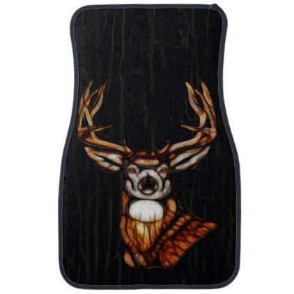 Wooden Wood Deer Rustic Country Wedding Custom Car Mat -nature diy customize sprecial design