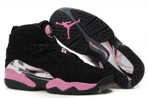 Nike Air Jordan 8 Retro Schoenen Dames Zwart Roze Wit