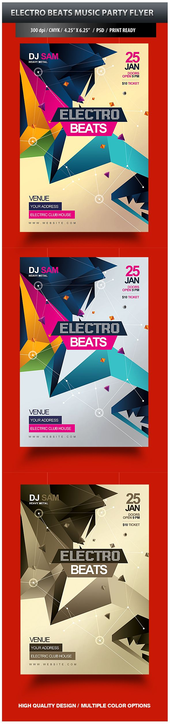 Electro Beats Party Flyer by satgur , via Behance
