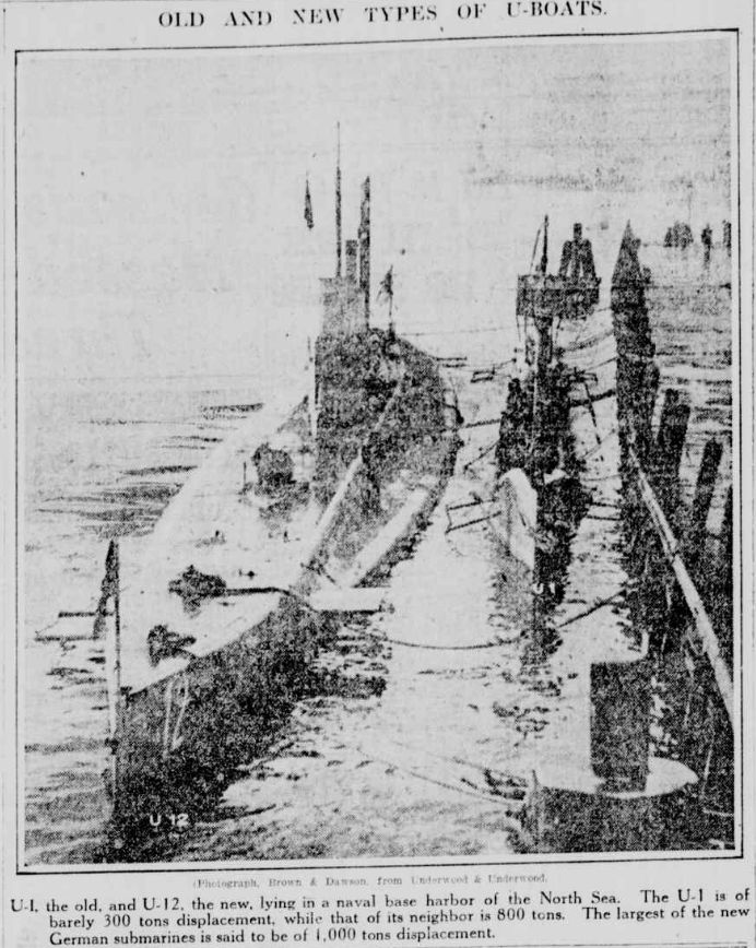 Photo of new and old model German U-boats tied together - NY Tribune 10 Oct 1915 #WW1 http://chroniclingamerica.loc.gov/lccn/sn83030214/1915-10-10/ed-1/seq-2/…