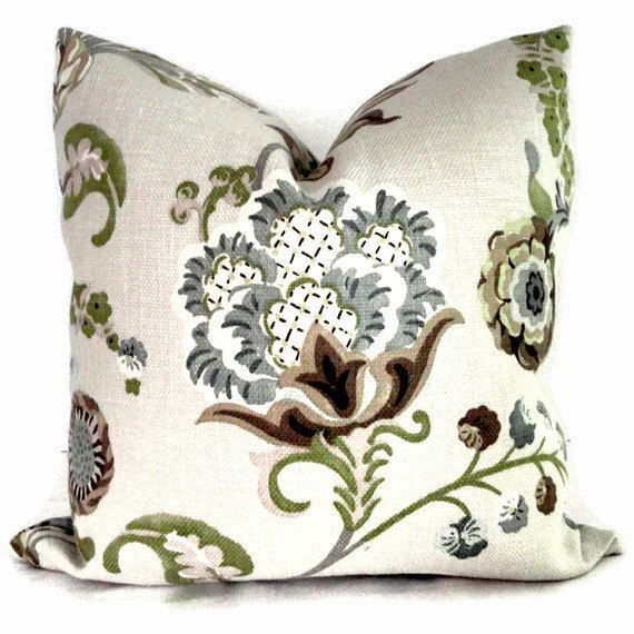 Jacobean Decorative Pillows : Kravet Green and Grays Jacobean Floral Decorative Pillow Cover Square or lumbar pillow - throw ...