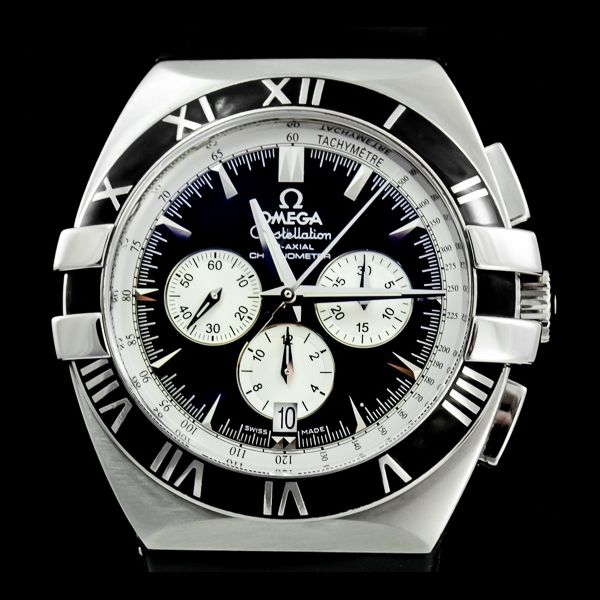 Omega-Constellation Double Eagle chronograph. 41 mm with caoutchuc bracelet. Montre d'occasion http://www.joaillerie-royale.com/
