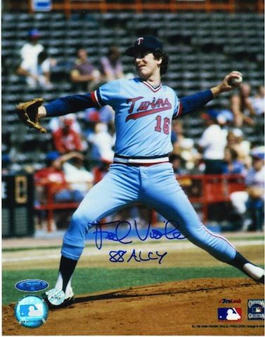 "Autographed Frank Viola Minnesota Twins 8x10 Photo Inscribed """"88 ALCY"""""