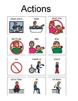 Picture Enhanced / Enabled Communication cards related to actions. Actions include stand up, sit down, don't bite, clean room, bath, no, sit on floor.  PECs can be used for facilitating communication between teacher and non-verbal students.