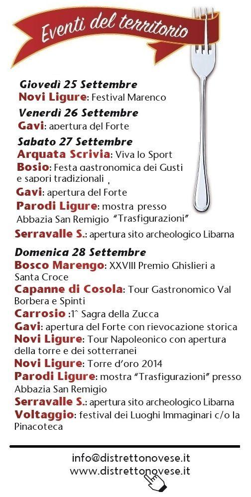 tutti gli eventi del fine settimana del 28 settembre 2014 #distrettodelnovese