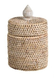 Vintage White wash Rattan Container with lid - Lifestyle Home and Living