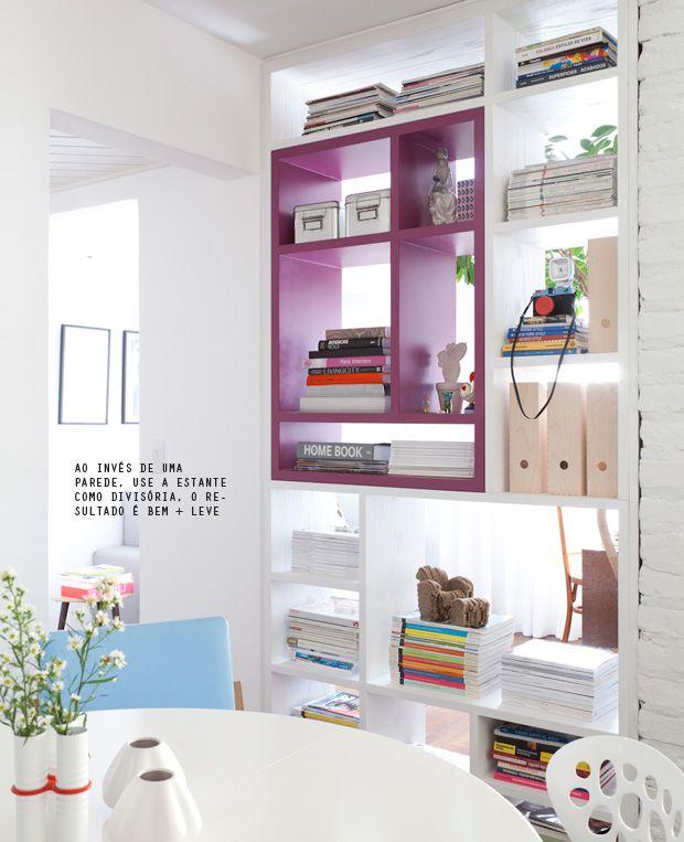 colorful bookcase as room divider #decor #estante #bookcase