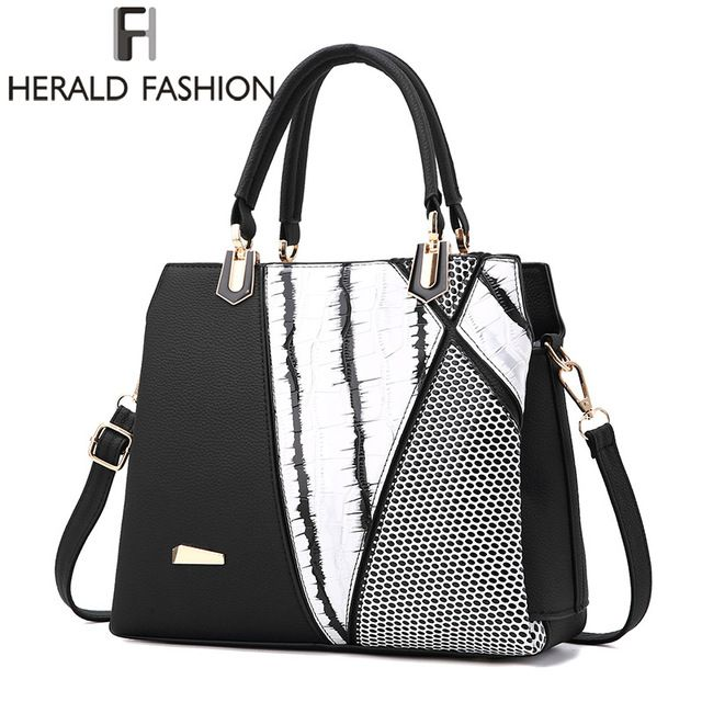 Affordable Price $21.69, Buy Herald Fasion Women Brand New Design Handbag Black And White Stripe Tote Bag Female Shoulder Bags High Quality PU Leather Purse
