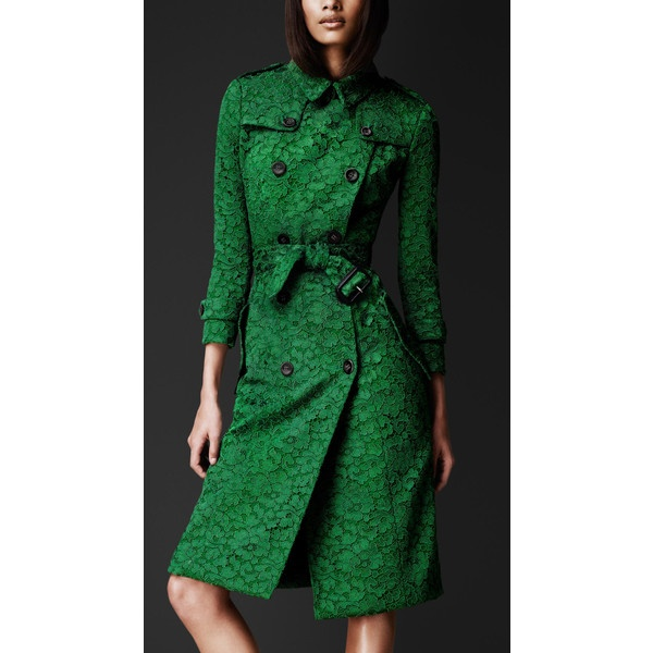 Burberry Kickback Green Lace Trench Coat ❤ liked on Polyvore
