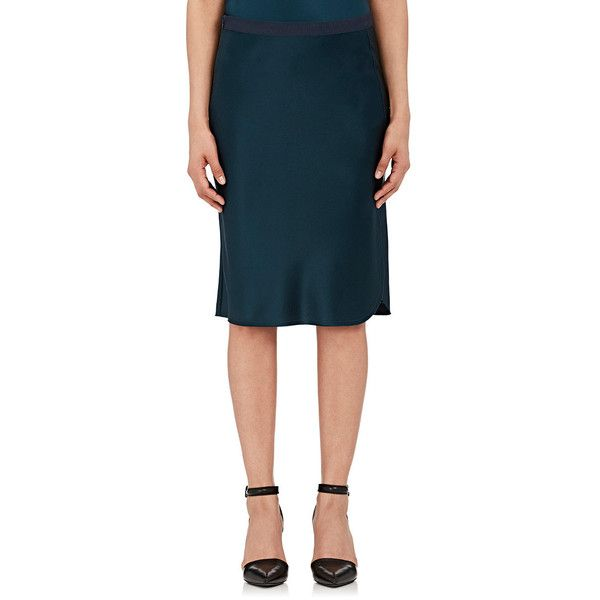 Nili Lotan Women's Lillie Silk Knee-Length Skirt ($525) ❤ liked on Polyvore featuring skirts, dark green, dark green skirt, blue knee length skirt, knee length skirts, slit skirt and blue silk skirt