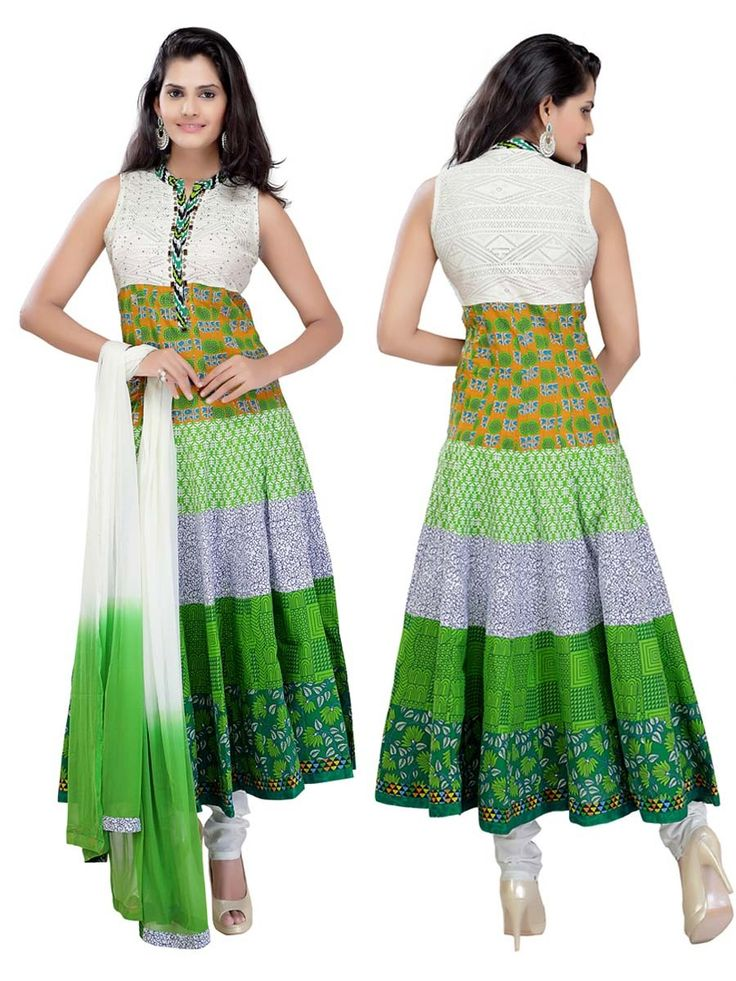 Exclusive white, green and mustard color printed cotton anarkali shiny kundan and thread work. Item Code : SLTY09R http://www.bharatplaza.com/new-arrivals/salwar-kameez.html