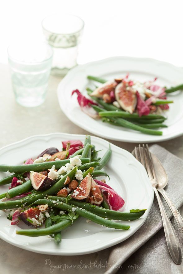 Fig Green Bean and Radicchio Salad with Toasted Hazelnuts gourmandeinthekitchen.com  Fig, Green Bean and Radicchio Salad with Hazelnuts