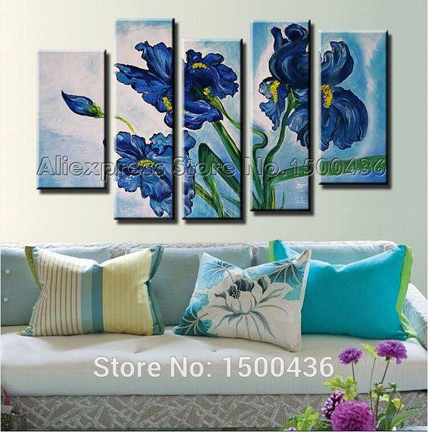 Cheap iris flor azul pintura al leo hechas a mano de 5 for Cuadros de decoracion baratos