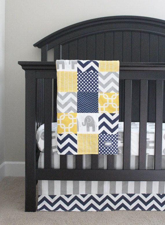 Custom Crib bedding  Yellow Navy Blue and by GiggleSixBabyBlanket, $441.00
