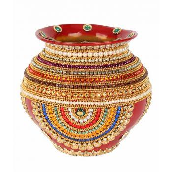 Red Copper Pot Kalash With Diamonds