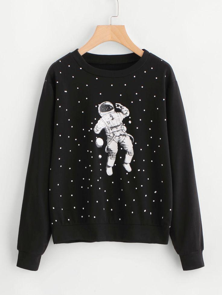 Shop Astronaut Print Sweatshirt online. SheIn offers Astronaut Print Sweatshirt & more to fit your fashionable needs.
