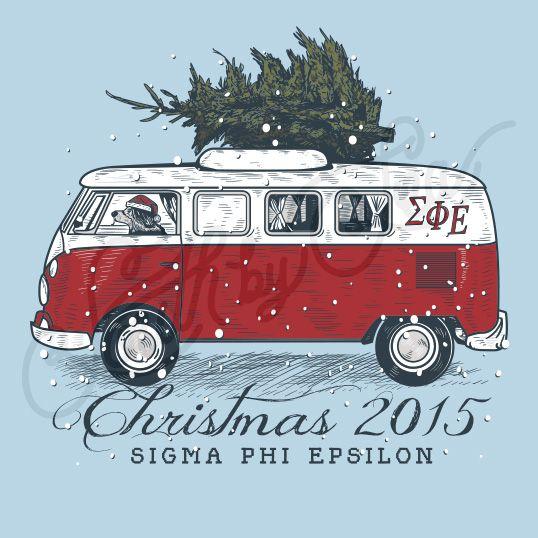 Fraternity Social Sigma Phi Epsilon Christmas Van Dog Tree South By Sea